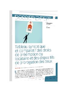 LIVRE BLANC - Tableau synoptique et comparatif des droits de préemption du locataire et des dispositifs de prorogation des baux